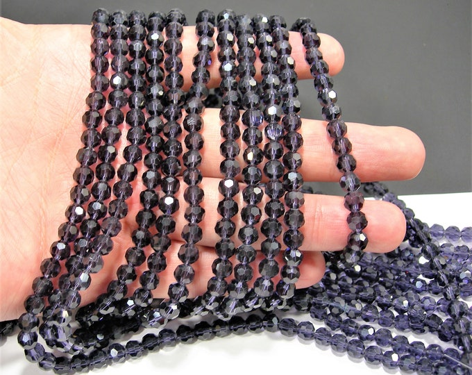 Crystal - 6mm Purple round faceted beads - 99 beads - AA quality - 22 inch strand - RFG1903