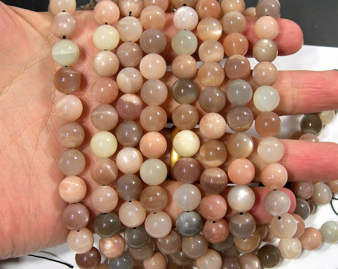 Mix Moonstone - 10mm  round beads - full strand 40 beads - AA QUALITY - Grey Peach Cream mix moonstone - RFG1834