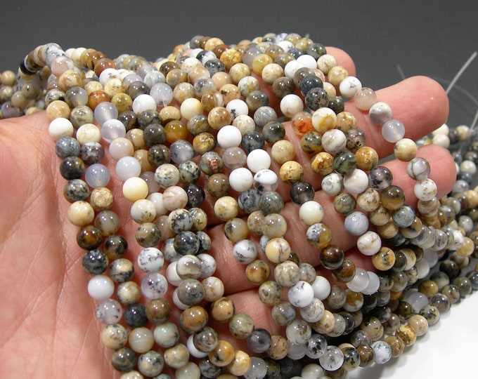 Dendritic Opal - 6mm round beads - full strand - 66 beads - RFG2050