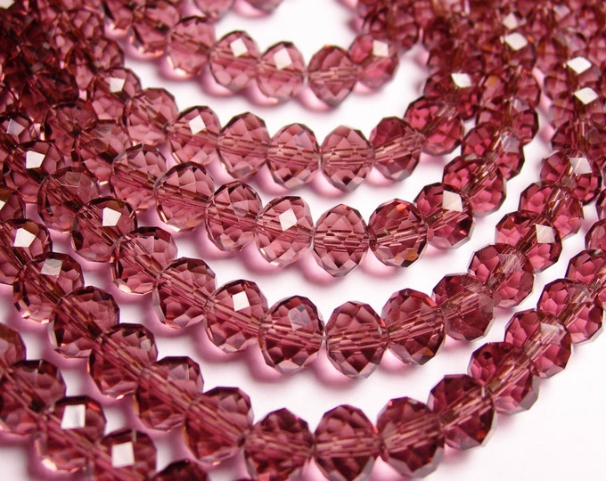 Crystal faceted rondelle - 72 pcs -  8 mm - AA quality - light purple  - full strand - GSH1