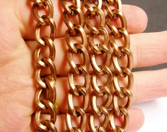 Copper chain - lead free nickel free won't tarnish - 1 meter-3.3 feet - aluminum chain - Dark copper