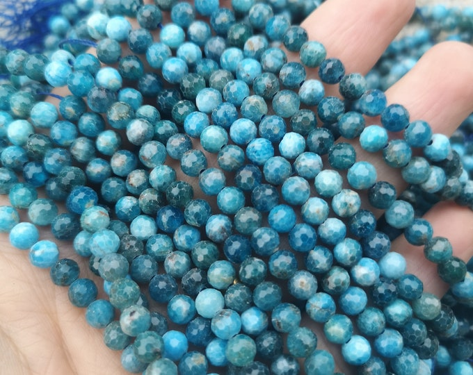 Apatite - 5mm(5.4mm) micro faceted  beads - full strand  74 beads - Blue Apatite - RFG2268