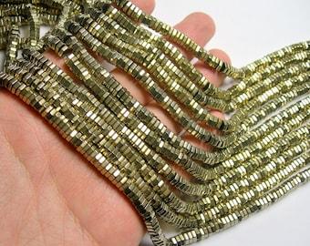 Hematite gold - 2mmX 5mm hexagon heishi slice  beads - full strand - 200 beads - AA quality  - PHG262