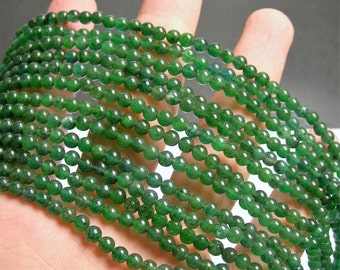 Green Aventurine 4mm round beads -  full strand - 98 beads - A quality - Brazil Aventurine - RFG907