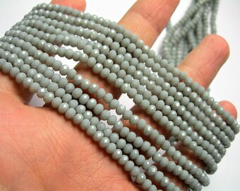 Crystal faceted rondelle 4mm - Grey matte - 18 inch strand 148 beads - YAZ21