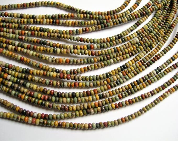 Red creek jasper - 4 mm rondelle - 140 beads - full strand - A qulaity - Picasso jasper - 4mmx2.7mm - RFG1291
