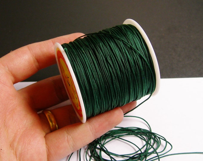 Nylon Cord - knotting/beading cord - 1mm - 70 meter - 230 foot -  Dark green -N6