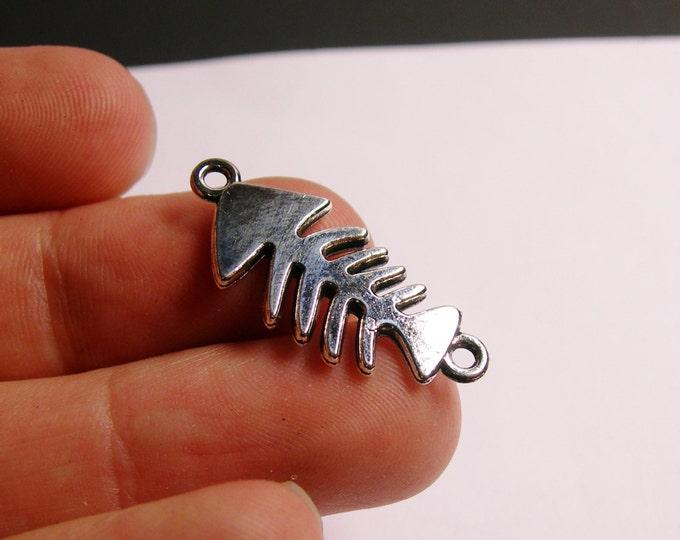12 Fish bone charms - hypoallergenic - silver-  fish bone charms  - bracelet beads -  ASA8