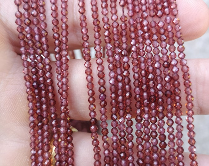 Garnet - 2.4mm micro faceted round beads - 173 beads - PG392