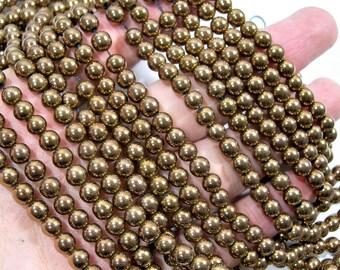 Bronze Hematite - 6mm  round beads - full strand - 68 beads - RFG1780