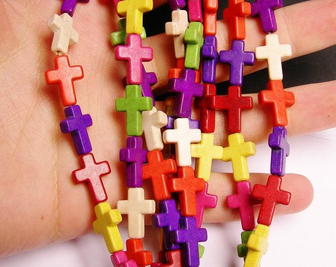 Howlite cross bead - multicolor  -1 full strand - 25 crosses - RFG827