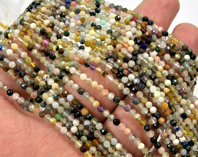 Gemstone mix - 2.6mm micro faceted round beads - 155 beads - Full strand 16 inch - 40 cm  - A Quality - PG149