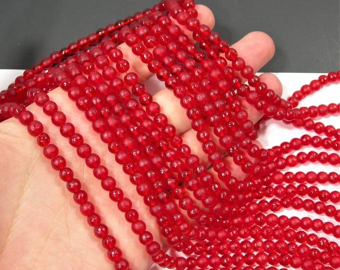 Red sea glass - 67 pcs - 6mm - full strand - RFG1874