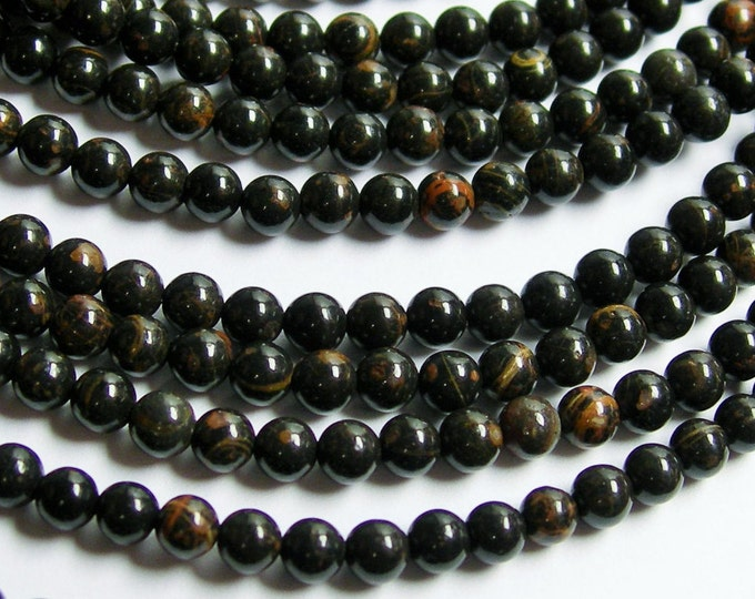 Obsidian - 4 mm  round beads - full strand - 96 beads - A quality - black brown obsidian - RFG299