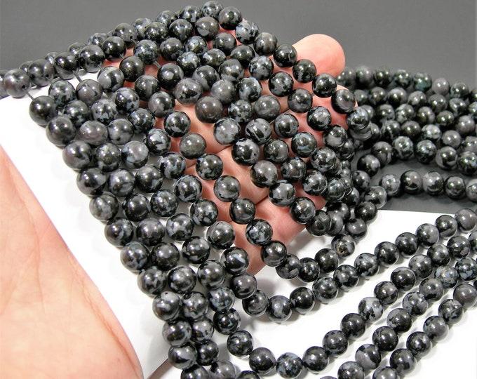 Indigo Gabbro - 8mm round beads - full strand - 49 beads - Mystic Merlinite -RFG2169