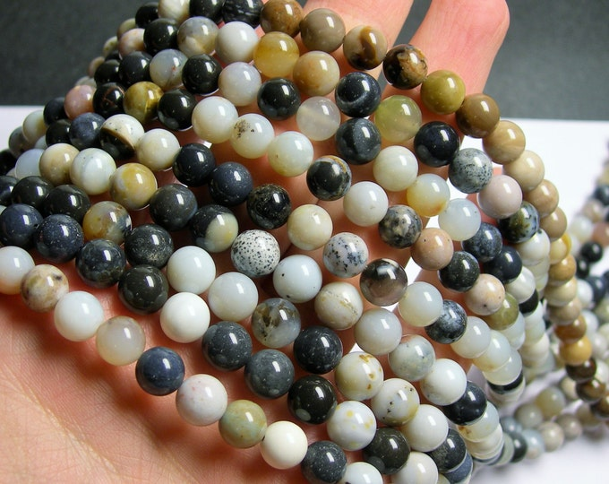 Parral  agate 8 mm round - A quality - 50 beads per strand -   full strand - Parral dendritic agate -  RFG872