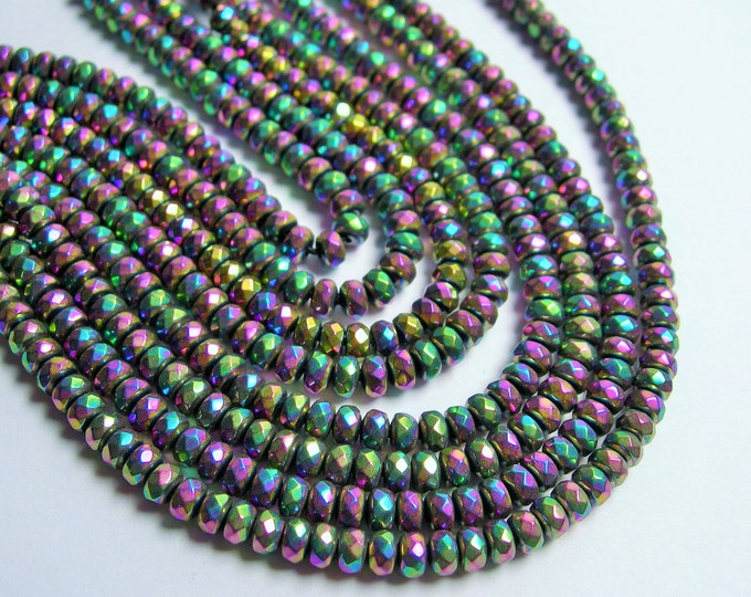 Hematite rainbow - 3x4mm faceted rondelle beads - full strand - 135 beads - A quality - PHG206