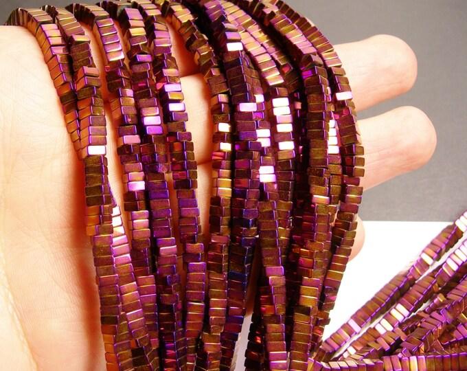 Hematite mystic purple - 4x2mm heishi square slice beads - full strand - 190 beads - A quality  - PHG107