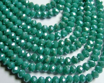 Crystal faceted rondelle - 96 beads - 6mmx 4mm - AA quality - blue green aqua - full strand - CRV94