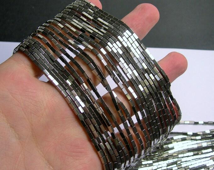 Hematite Silver - 4mm rectangle beads -  full strand - 100 beads - AA quality - 4x2 - PHG235