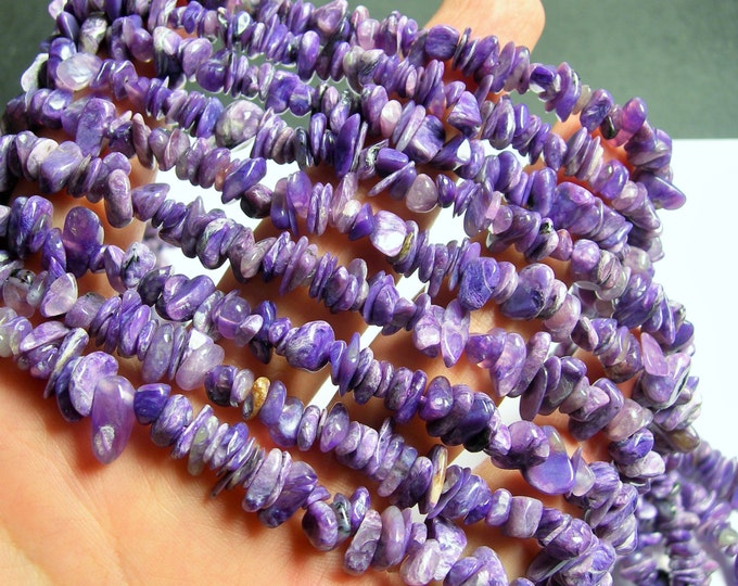 Charoite Gemstone  - chip stone beads  - 16 inch strand - PSC264