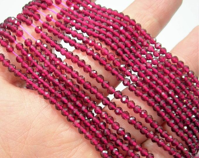 Ruby - 3mm(2.8mm) micro faceted round beads -  full strand  - 136 beads - AA Quality - Lab created Ruby - PG260