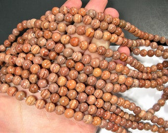 Earthy banded jasper - 8mm(8.3mm) round beads - full strand - 47 beads - RFG1916