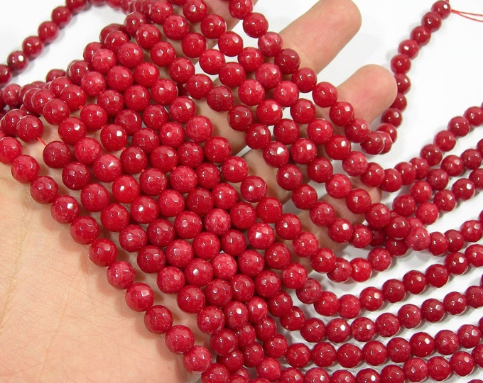 Red Jade - 8 mm faceted round beads - full strand - 46 beads - Red Jade - RFG2019