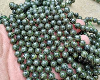 Russian Serpentine - 8mm  round beads - full strand - 49 beads - high polished - RFG2329