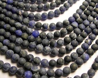 Sodalite matte - 8 mm round beads - 1 full strand - 49 beads - Dark matte sodalite - RFG930