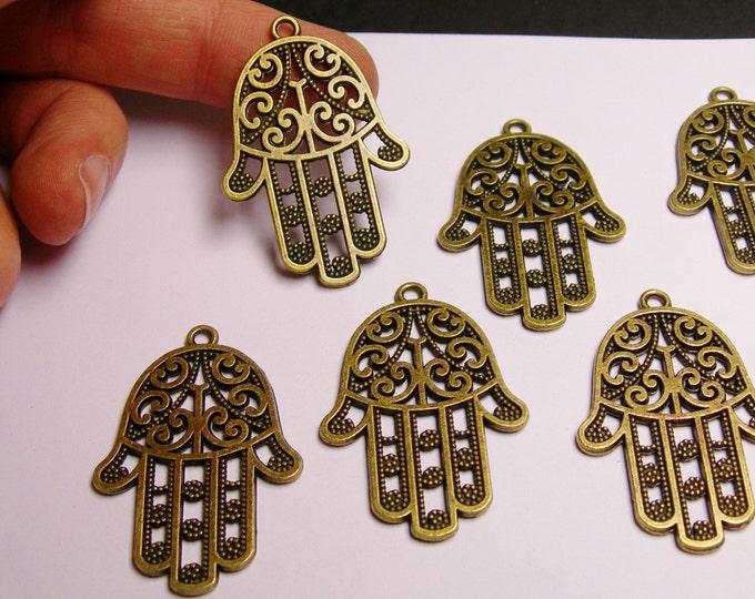 Big Hand of Fatima - antique bronze color - charms - 6  pcs - 44mm by 30mm -BAZ18