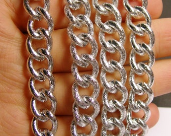 Silver chain -  twisted cable chain - 1 meter - 3.3 feet - aluminum chain - etching - NTAC91
