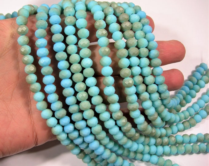 Crystal faceted rondelle - 72 pcs - 8 mm - AA quality - full strand - matte dual tone blue - RFG1950