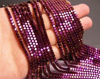 Hematite purple - 3mm faceted square - full strand - 142 beads - AA quality - PHG186