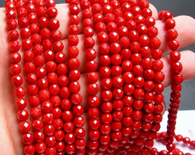 Coral red - 6mm(5.7mm) faceted round bead - 1 full strand - 69 beads - RFG48