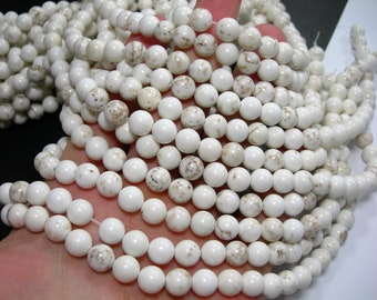 White Cream Howlite turquoise - 8 mm round beads - full strand - 49 beads - RFG172