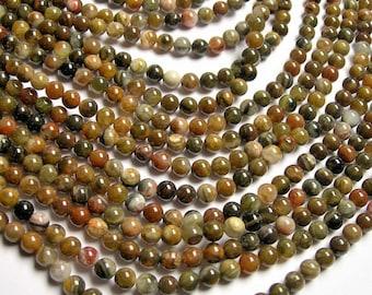 Petrified wood - 6mm round beads -1 full strand - 64 beads - Arizona petrified wood agate - RFG1243