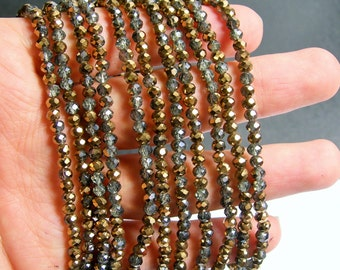 Crystal faceted rondelle - 145 pcs - 20 inch strand - 4 mm - A quality - mystic grey copper- dual tone - YAZ7