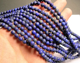 Lapis lazuli 6mm matte - round - 1 full strand  - 63 beads - A quality - natural matte - RFG1399