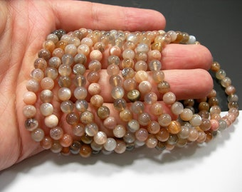 Moonstone - 6mm round beads - 31 beads - 1 set - Golden grey star mix moonstone - HSG284