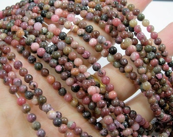 Rhodonite - 4mm round - full strand - 94 beads - rare dark matrix rhodonite - RFG1804