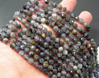 Iolite - 5.4mm micro faceted round beads -  full strand - 72 beads - Iolite gemstone - RFG2203