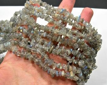Labradotite gemstone bead -  35 inch full strand - pebble  chip stone - RFG1855