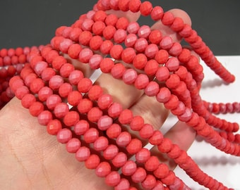 Crystal faceted rondelle - 72 pcs - 8 mm - AA quality - full strand - matte Ab - salmon orange red - RFG1948
