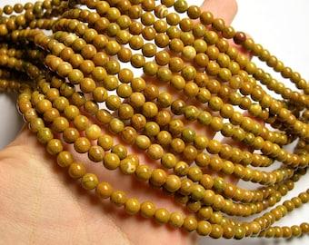 Yellow Petrified wood - 6mm round beads -1 full strand - 63 beads - RFG1130