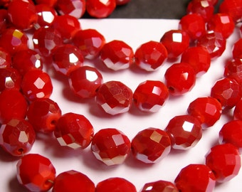 Crystal faceted rounded - 12 pcs - 10 mm - A quality - red - AB - CFHBC12