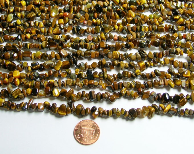 Tiger eye -  chip stone beads - nugget - pebble - 36 inch strand  - PSC155