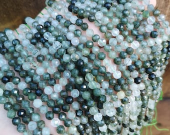 Green Rutile Quartz - 5mm(5.4mm) faceted round beads - Full strand - 71 beads - Micro Faceted  - PG383