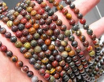Mix tiger iron -  6 mm round beads - full strand - 63 beads  - RFG2305