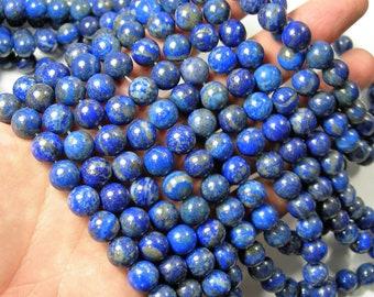 Natural Lapis lazuli 10mm - round - 1 full strand - 37 beads  -  RFG1687